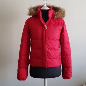 Steve Madden Red Puffer Warm Jacket With Fur hood